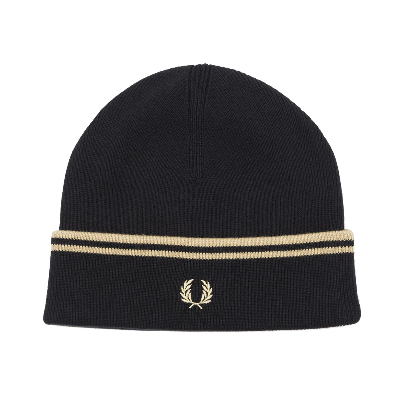 FRED PERRY Twin Tipped Merino Wool Beanie Hat B/C