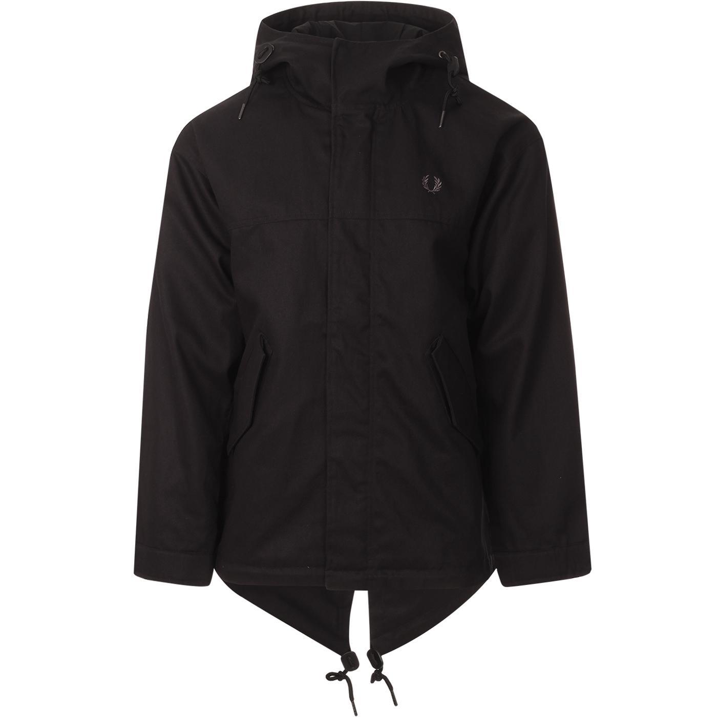 FRED PERRY Heavy Twill Fishtail Parka Jacket BLACK