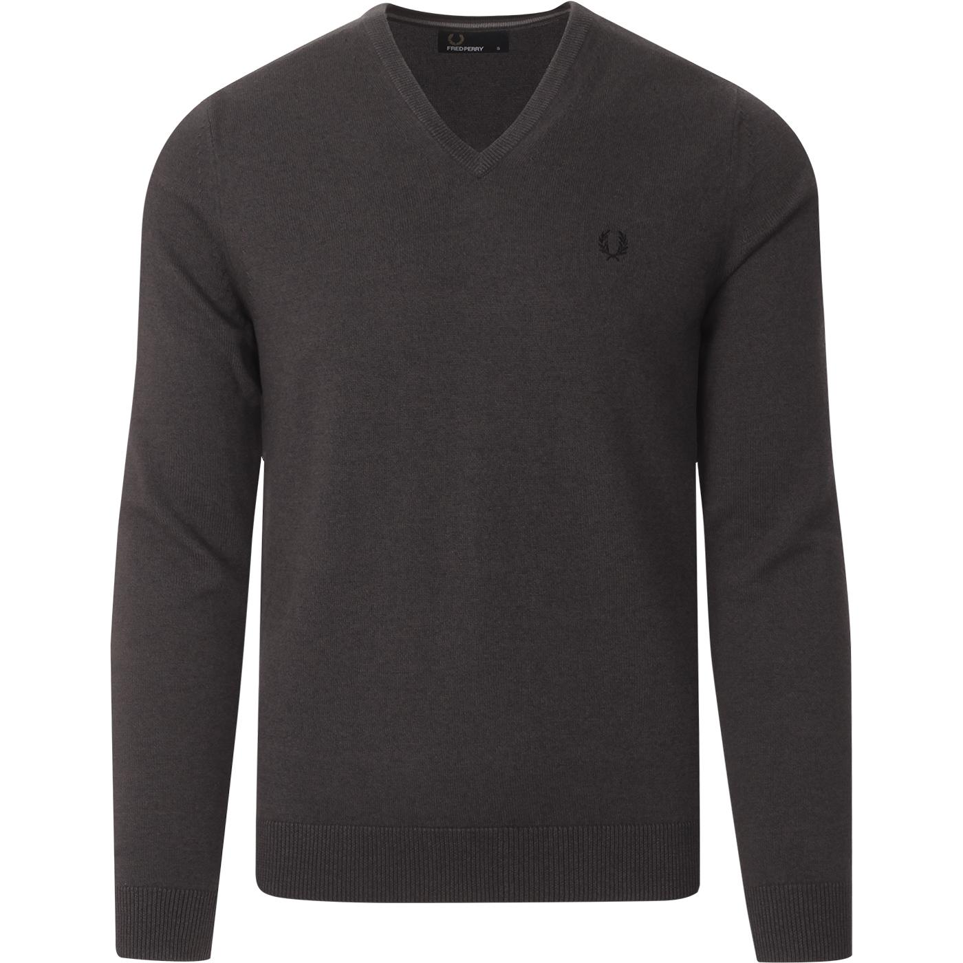 FRED PERRY Mod Tipped V-Neck Jumper (Graphite)