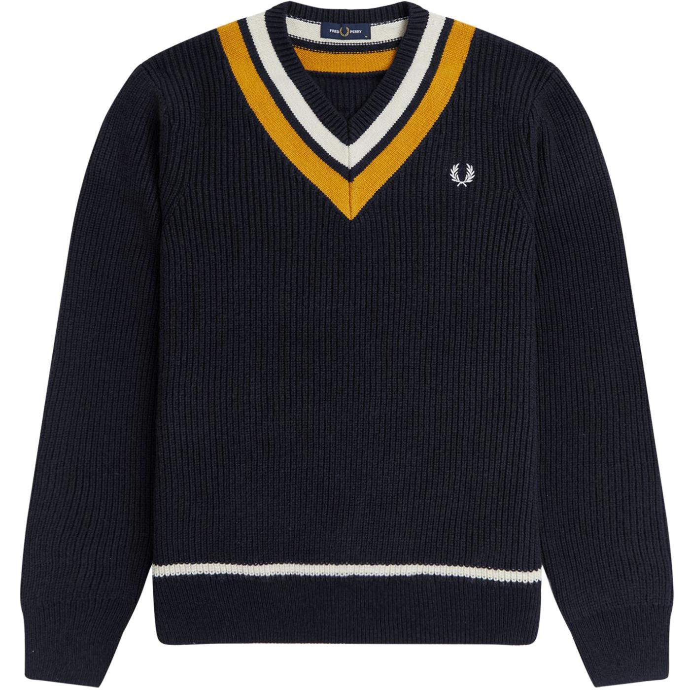 FRED PERRY Retro Stripe Knit V-neck Tennis Jumper