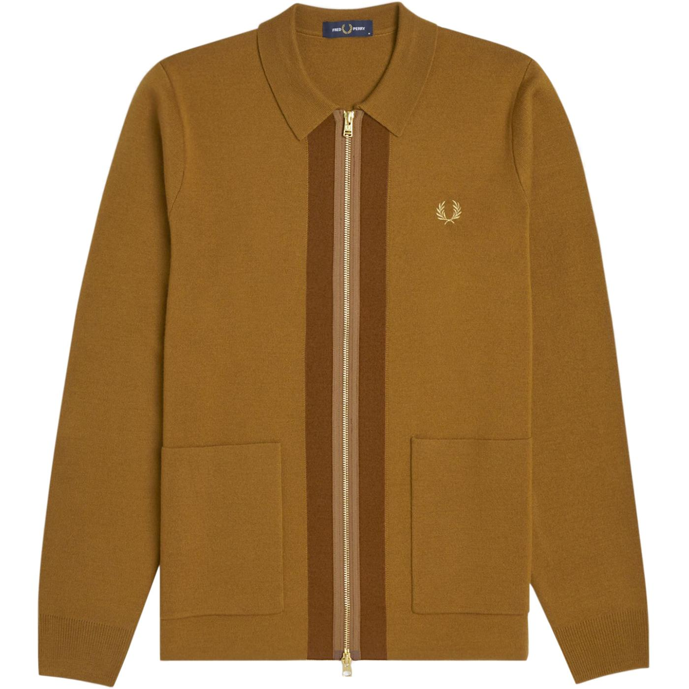 FRED PERRY Knitted Zip Through Polo Cardigan DC