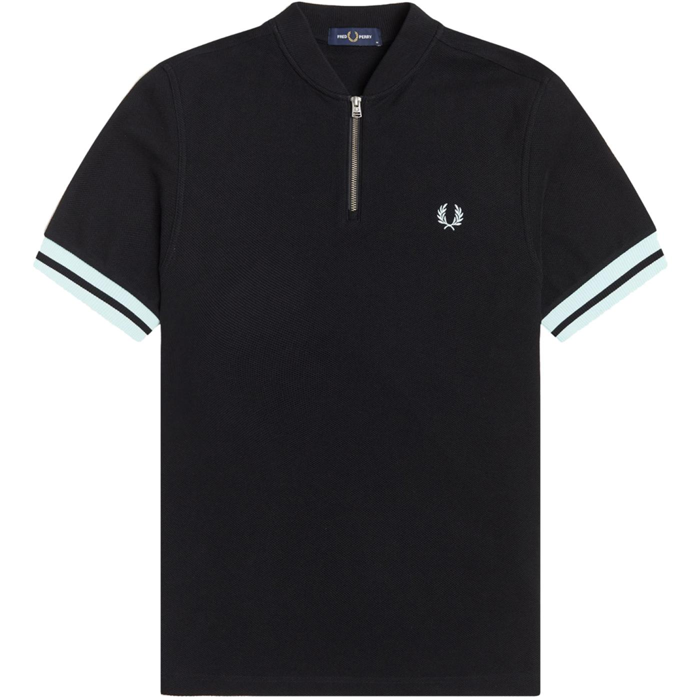 FRED PERRY Tipped Cuff Zip Neck Bomber Polo (B)