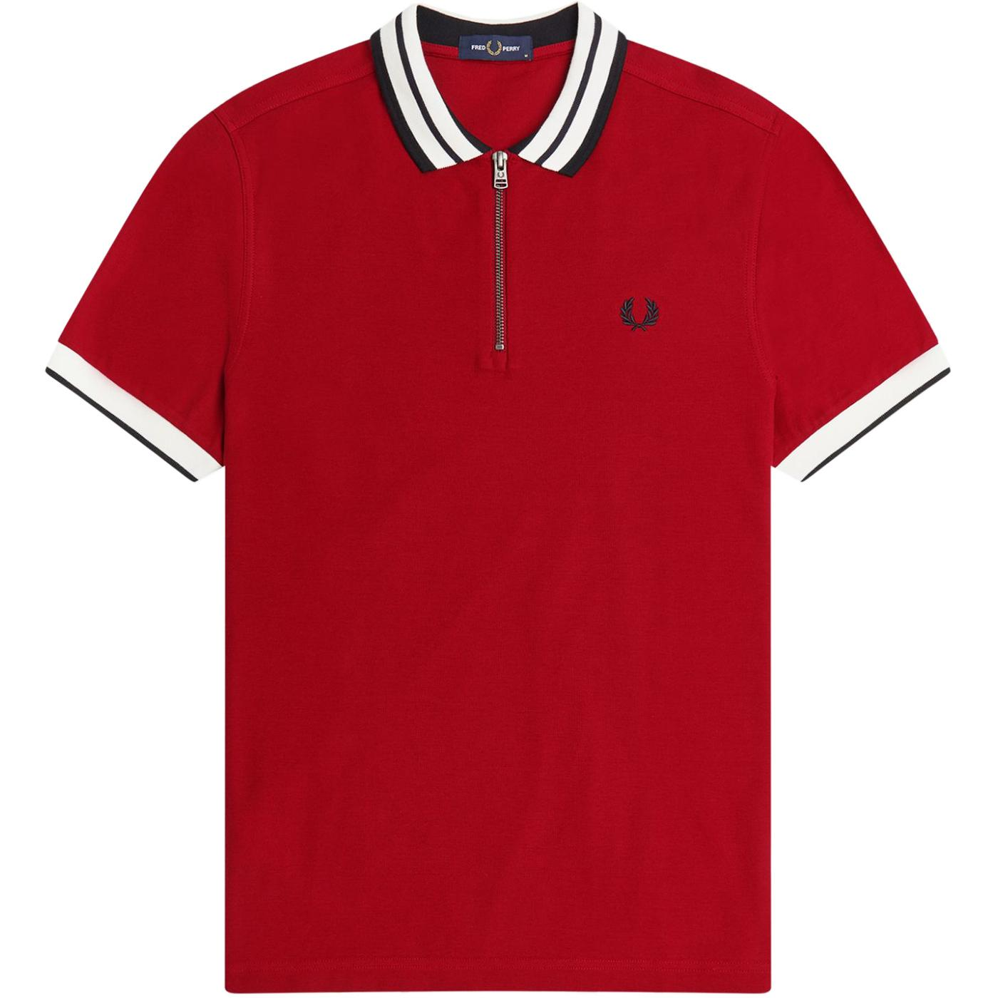 FRED PERRY Mod Bold Tipped Zip Neck Polo (Blood)
