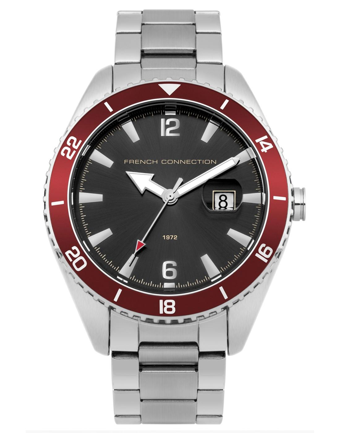 FRENCH CONNECTION Retro Cool Grey & Red Watch