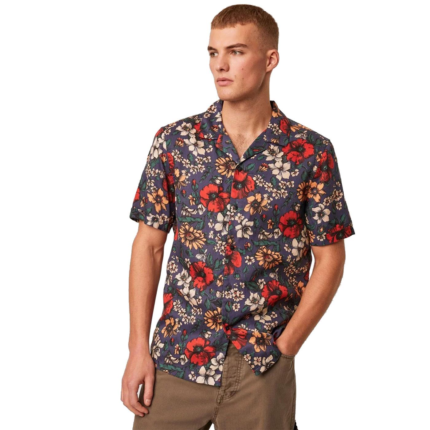 FRENCH CONNECTION Floral Print Revere Collar Shirt