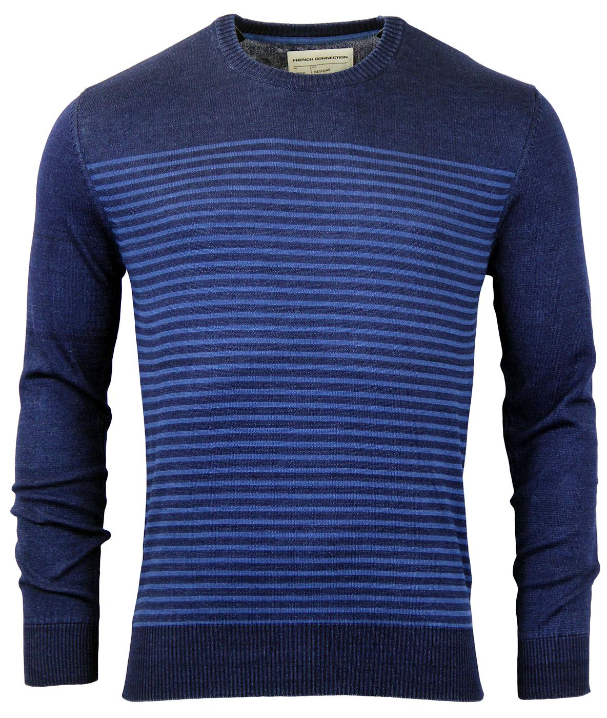 FRENCH CONNECTION Indigo Stripe Knit Mod Jumper