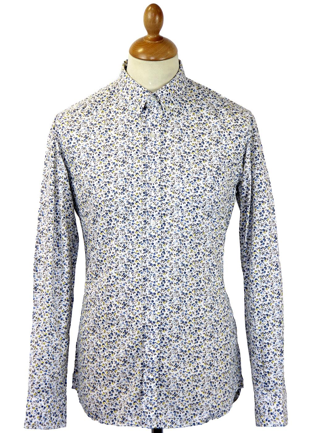 Floral Print French Connection Retro 60s Mod Shirt