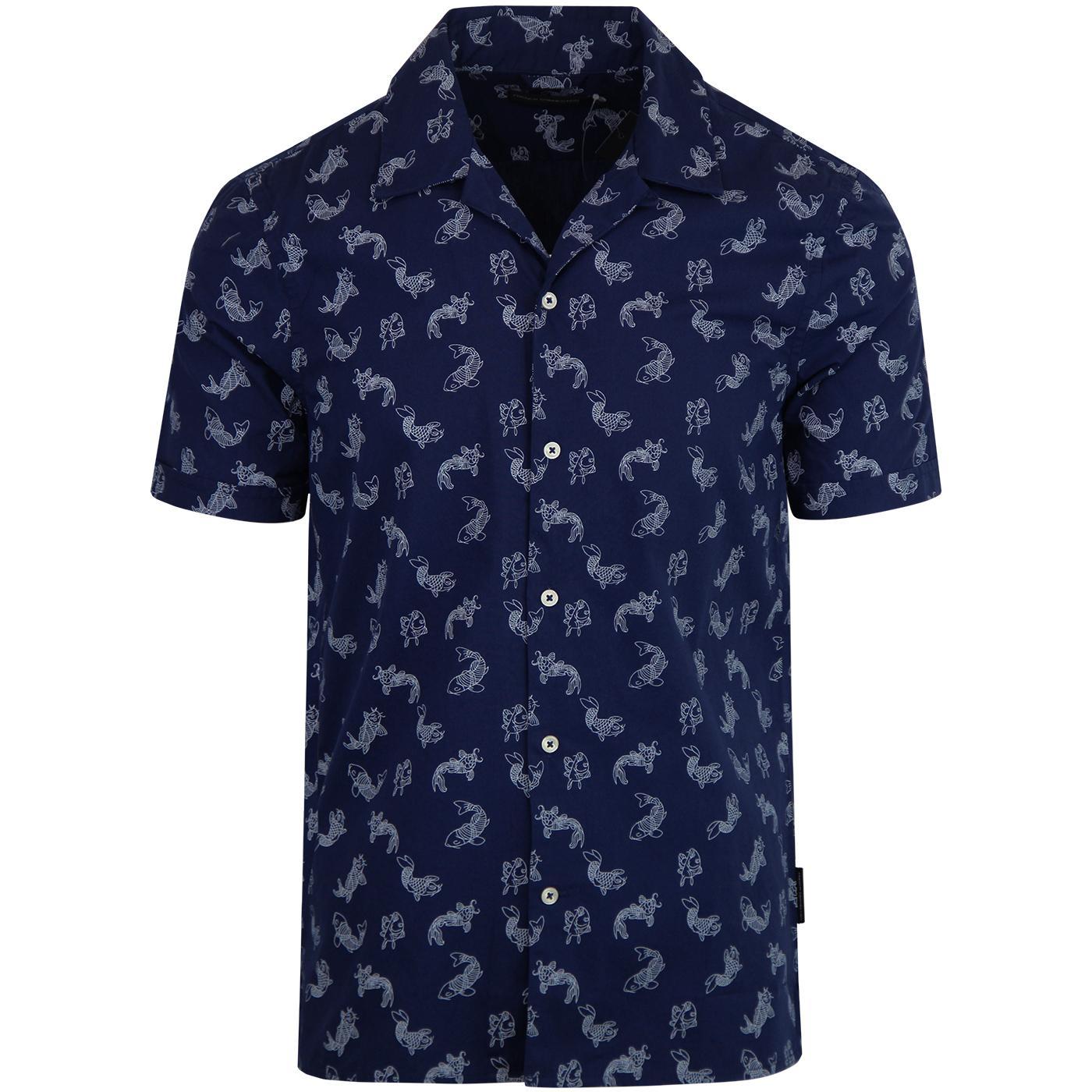 FRENCH CONNECTION 70s Koi Carp Revere Collar Shirt