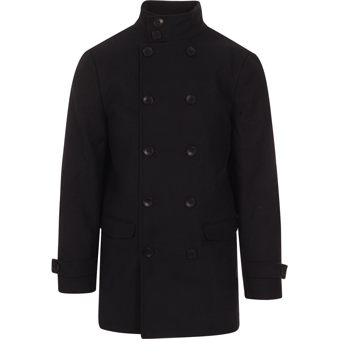 FRENCH CONNECTION Double Breasted Funnel Neck Coat