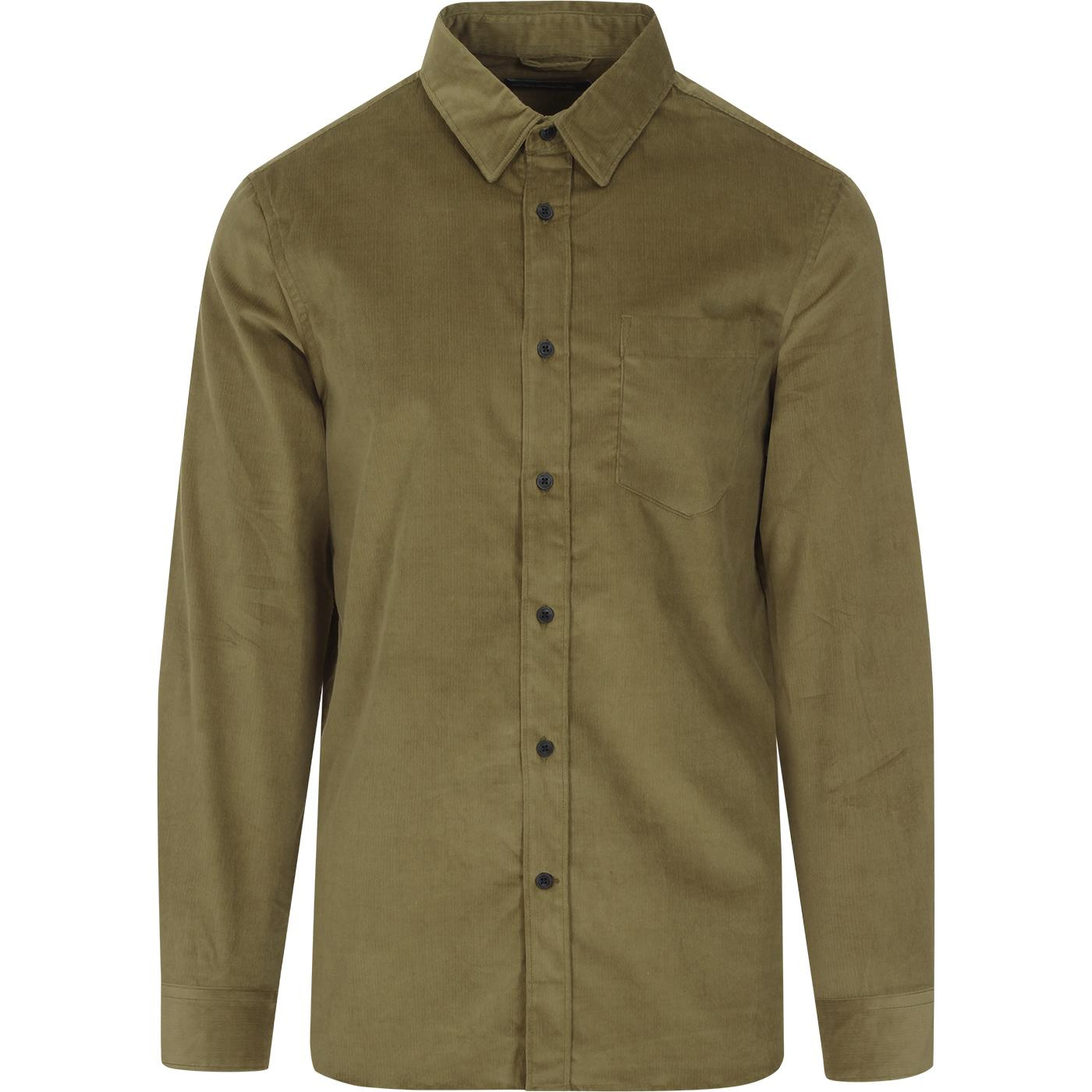 FRENCH CONNECTION Mod Micro Cord Shirt (Olive)