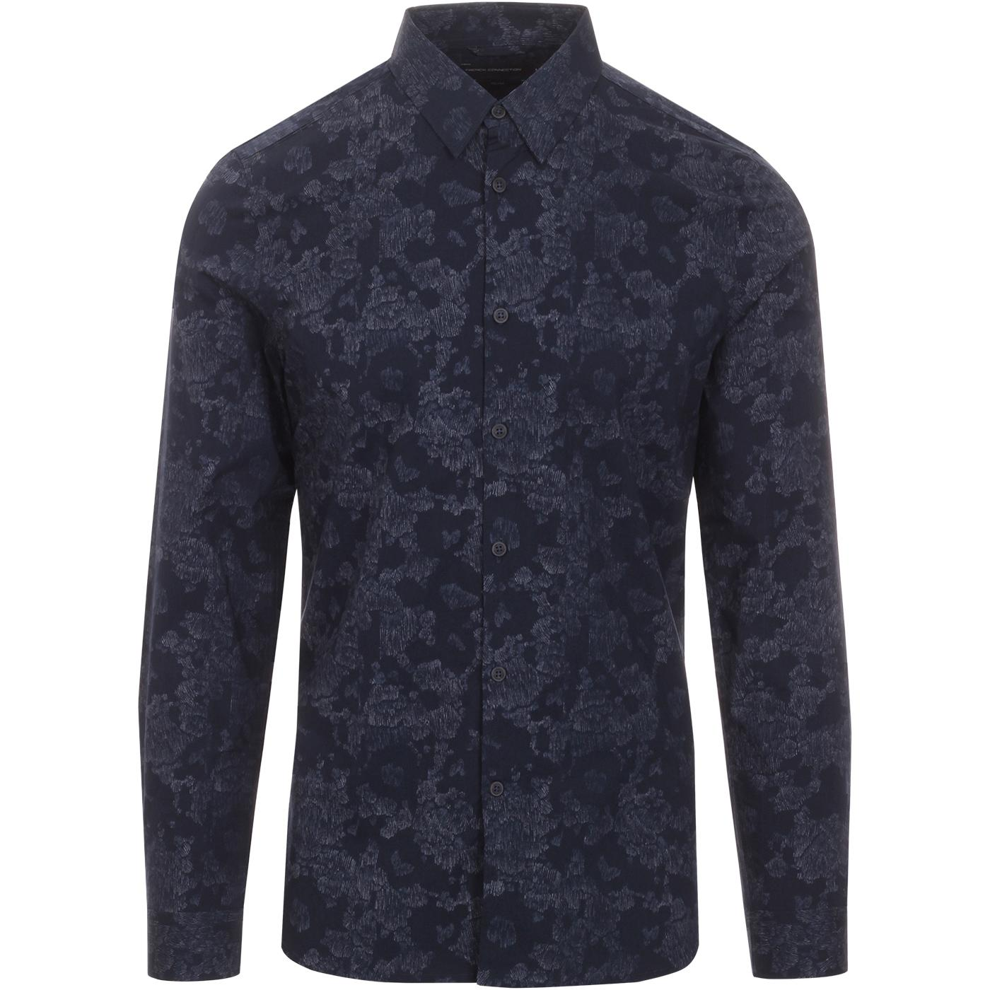 FRENCH CONNECTION Yari Smudgy Camo Line Shirt NAVY