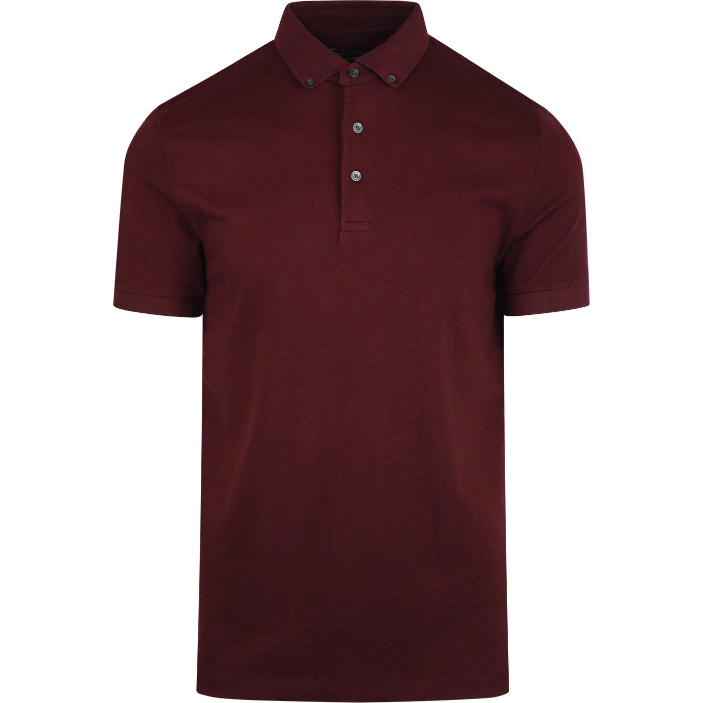 FRENCH CONNECTION Mod Parched Textured Polo BORDO