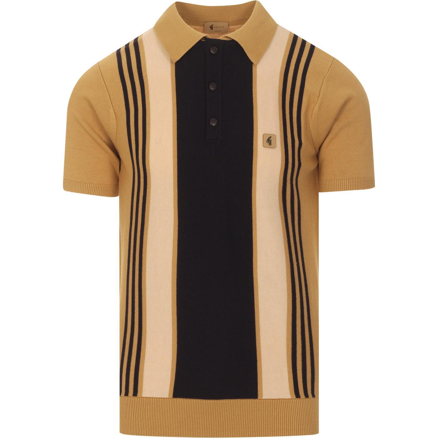 Searle GABICCI VINTAGE Retro Stripe Knit Polo SAND