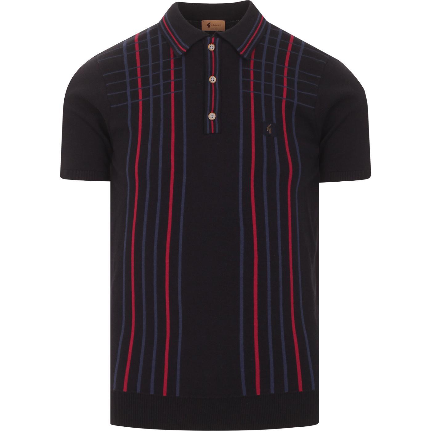 Bale GABICCI VINTAGE Check Stripe Knit Polo (Navy)