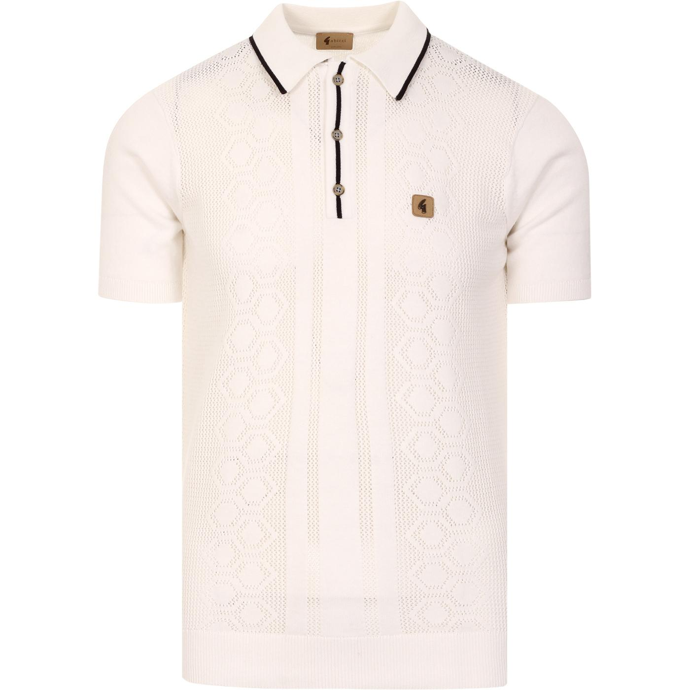 Bronson GABICCI VINTAGE Pointelle Knit Polo WHITE