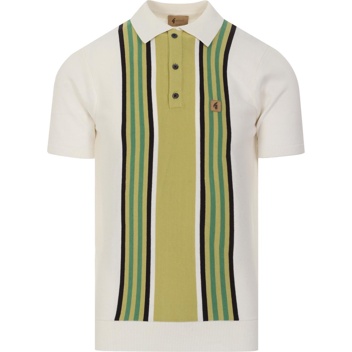 Casbah GABICCI VINTAGE Mod Stripe Knit Polo White