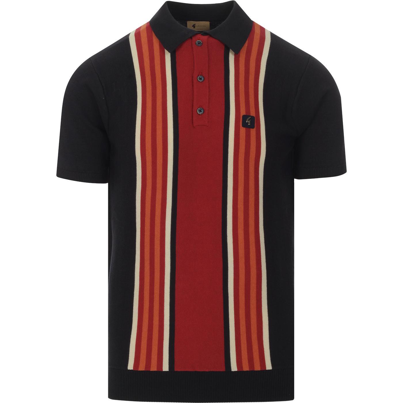 Casbah GABICCI VINTAGE Mod Stripe Knit Polo Navy