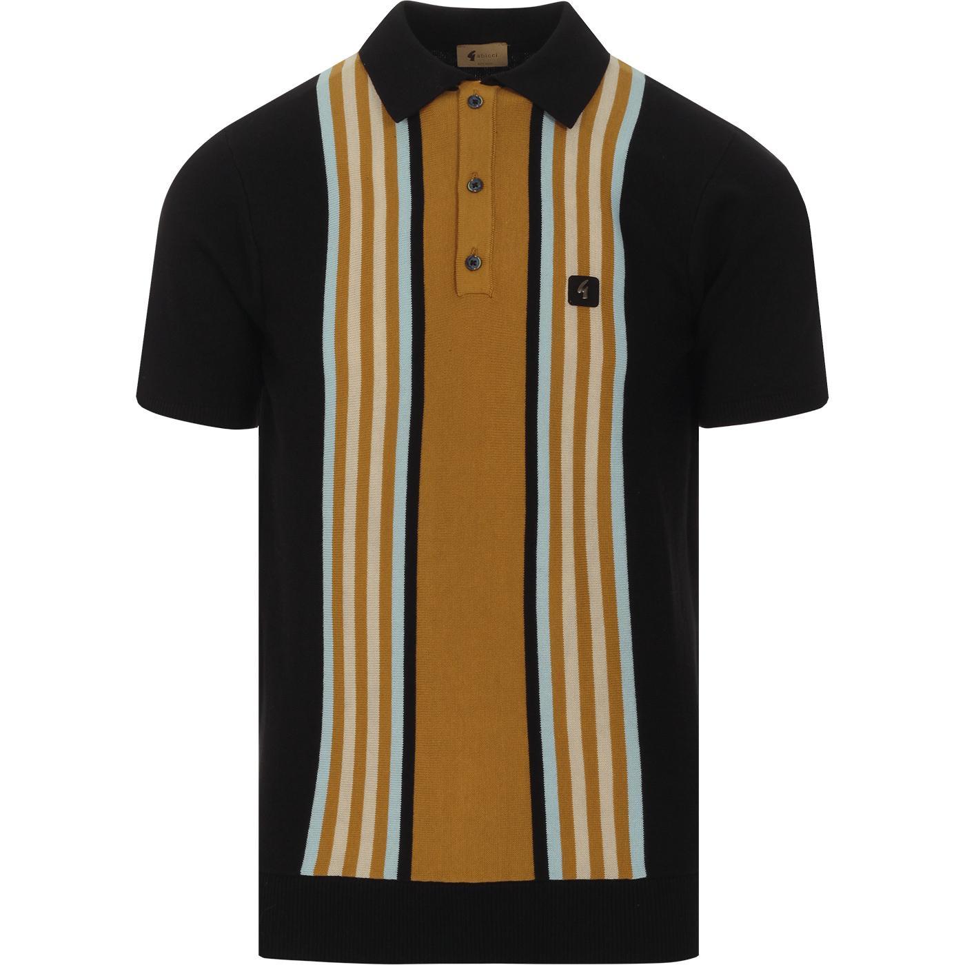 Casbah GABICCI VINTAGE Mod Stripe Knit Polo BLACK
