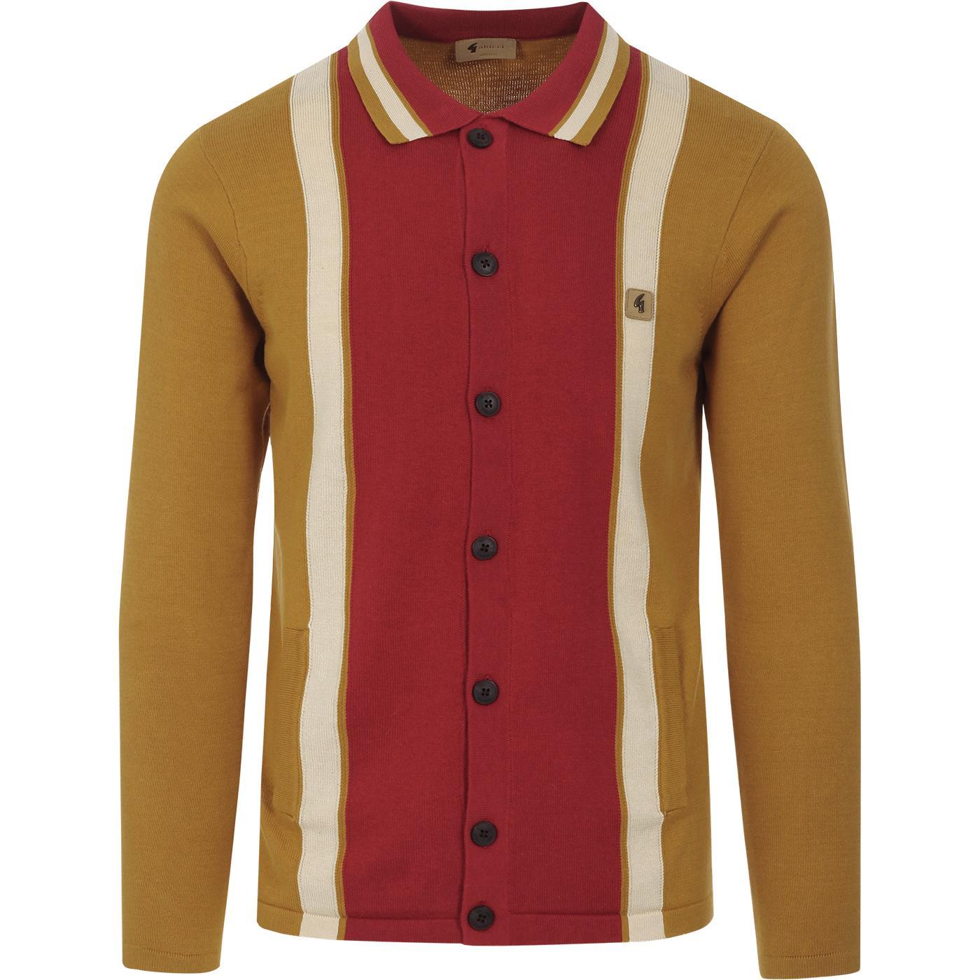 Davison GABICCI VINTAGE Mod Knit Polo Cardigan (H)