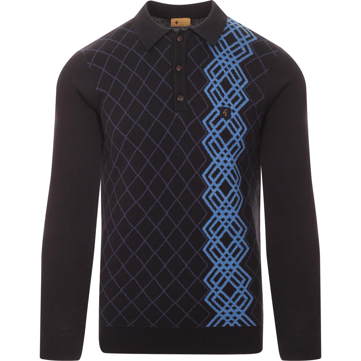 Bogarde GABICCI VINTAGE Mod Argyle Knit Polo (N)