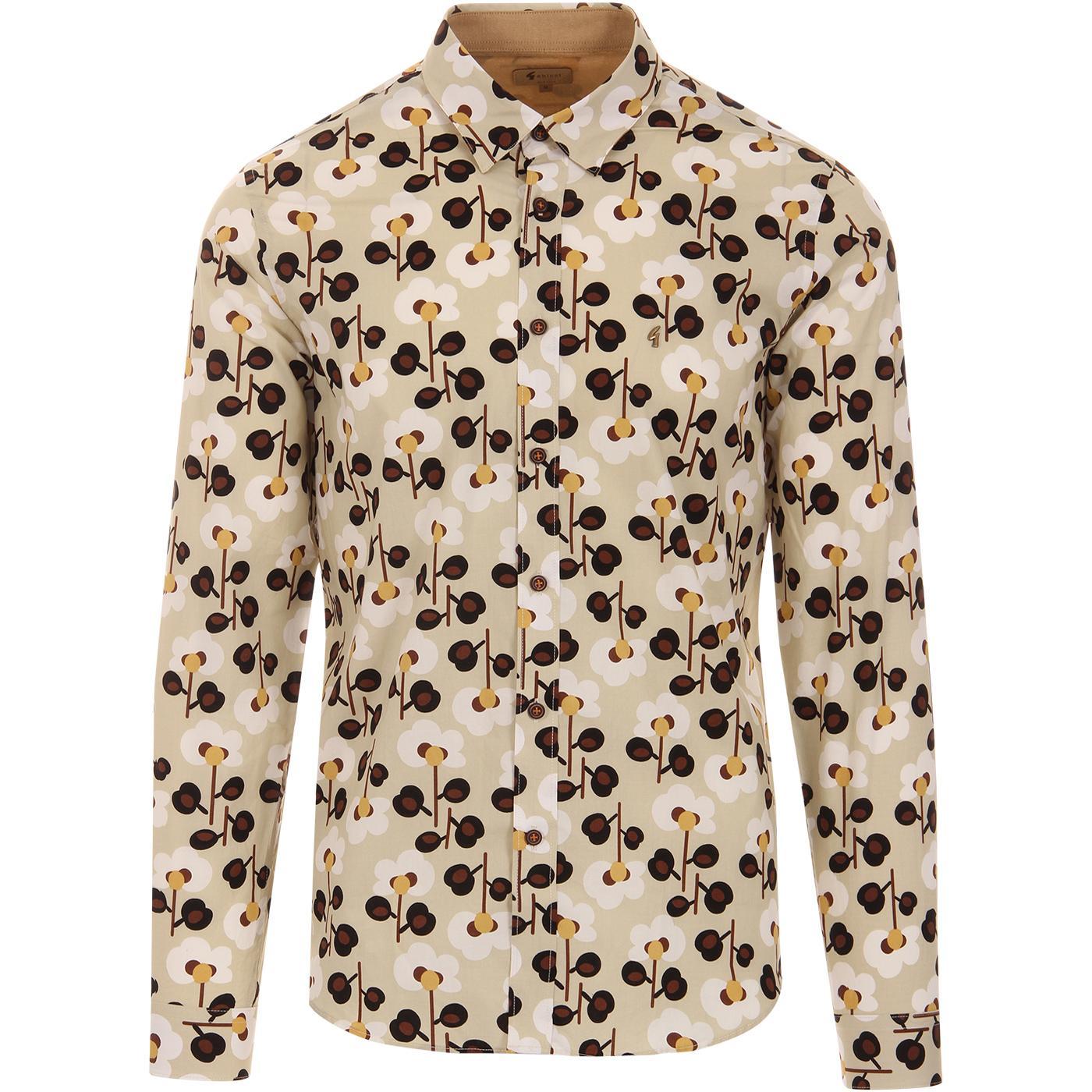 Nobu GABICCI VINTAGE 1960s Mod Floral Shirt (Oat)