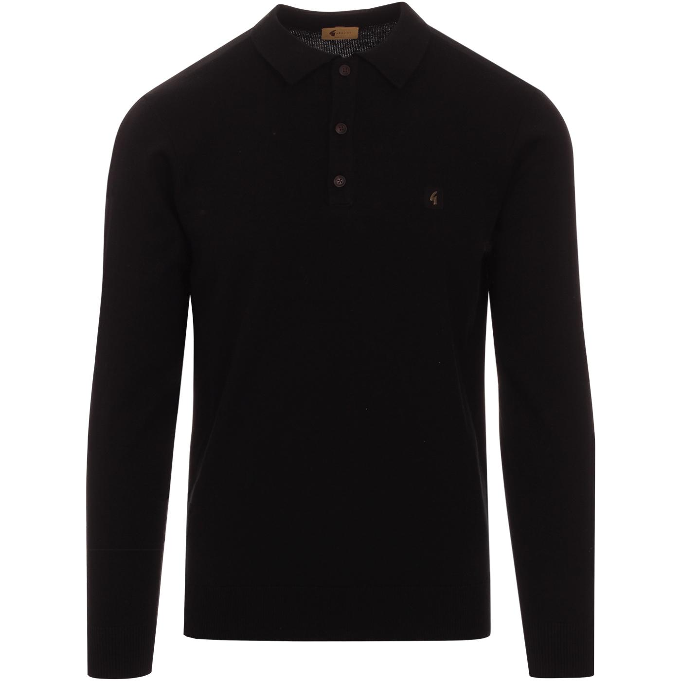 Francesco GABICCI VINTAGE Mod Knit Polo Top BLACK