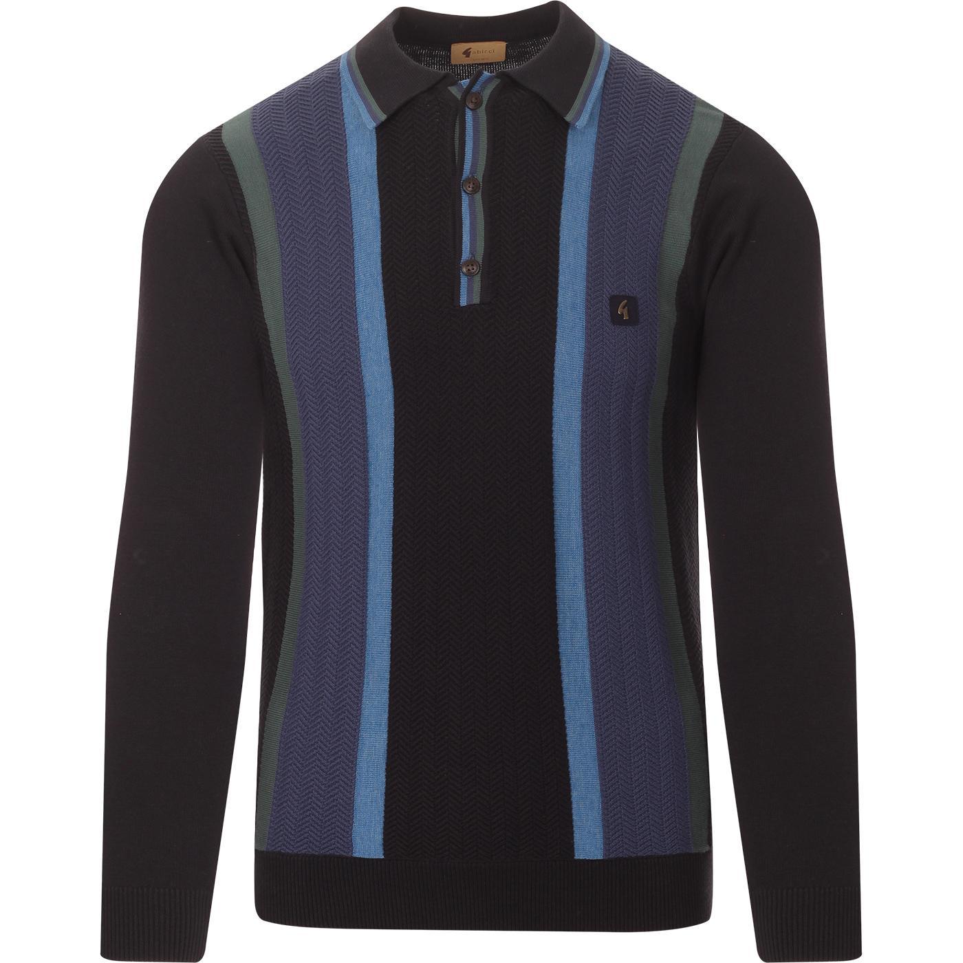 Freeman GABICCI VINTAGE Retro Knitted Polo in Navy