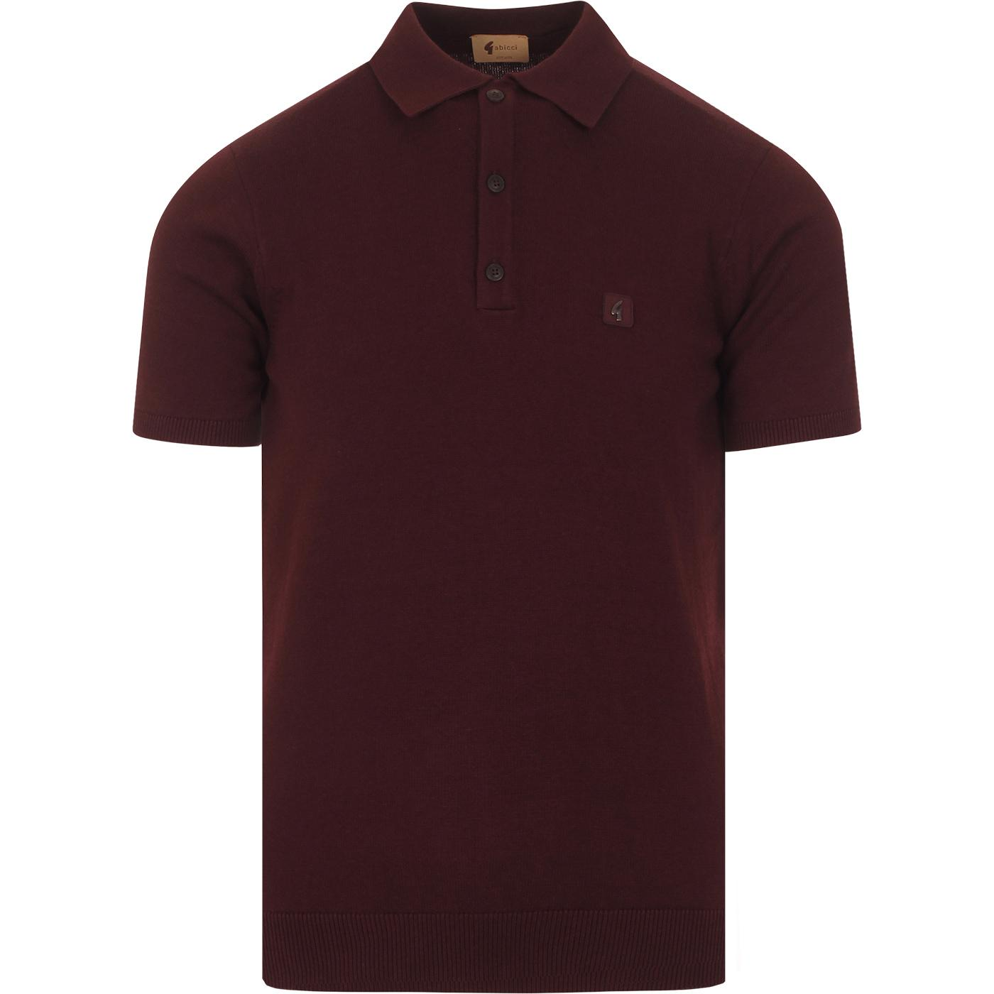 Jackson GABICCI VINTAGE Mod Knit Polo Top OXBLOOD
