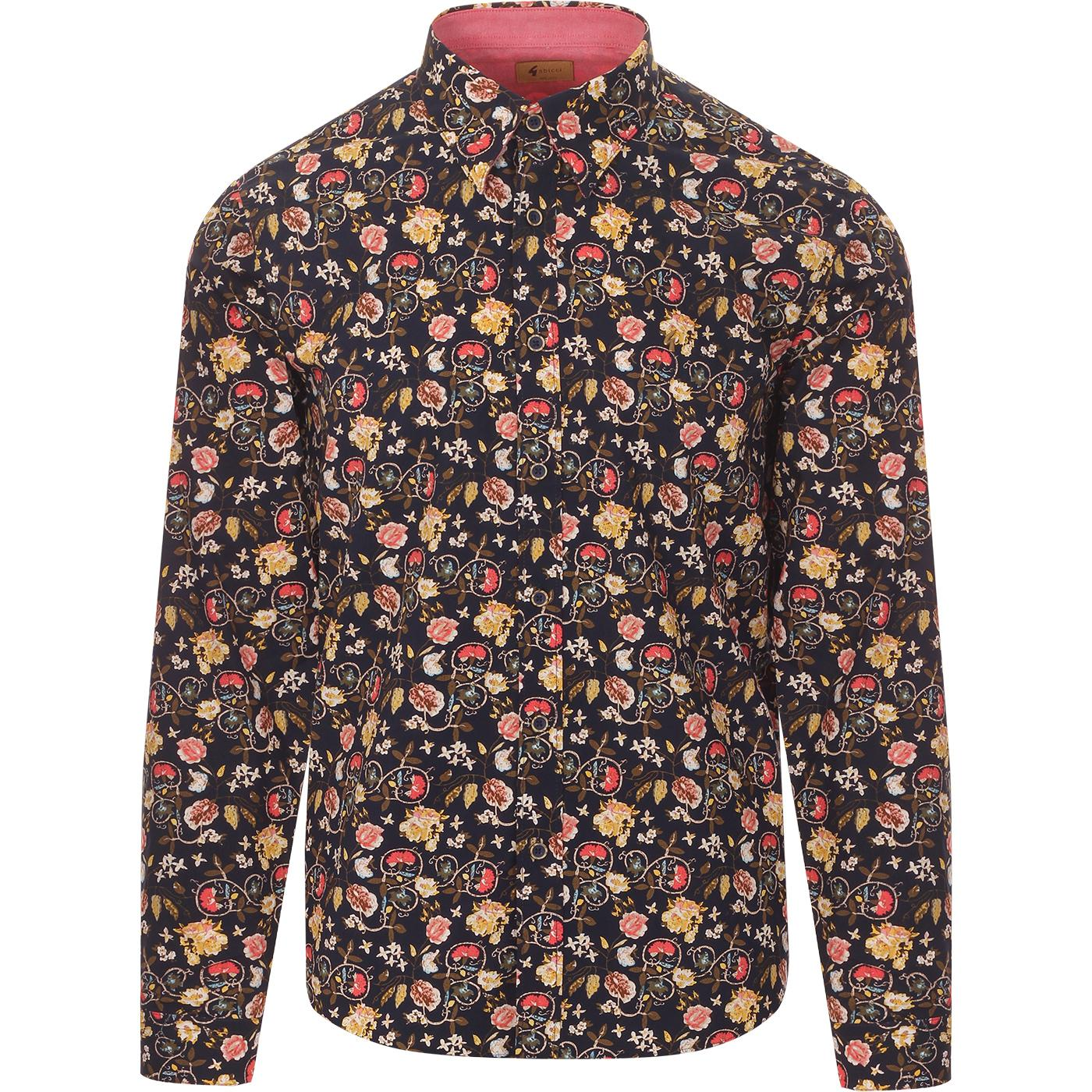 Martin GABICCI VINTAGE 60s Mod Vine Floral Shirt