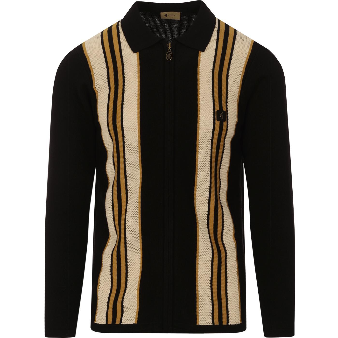 Monterey GABICCI VINTAGE Mod Stripe Zip Knit Polo