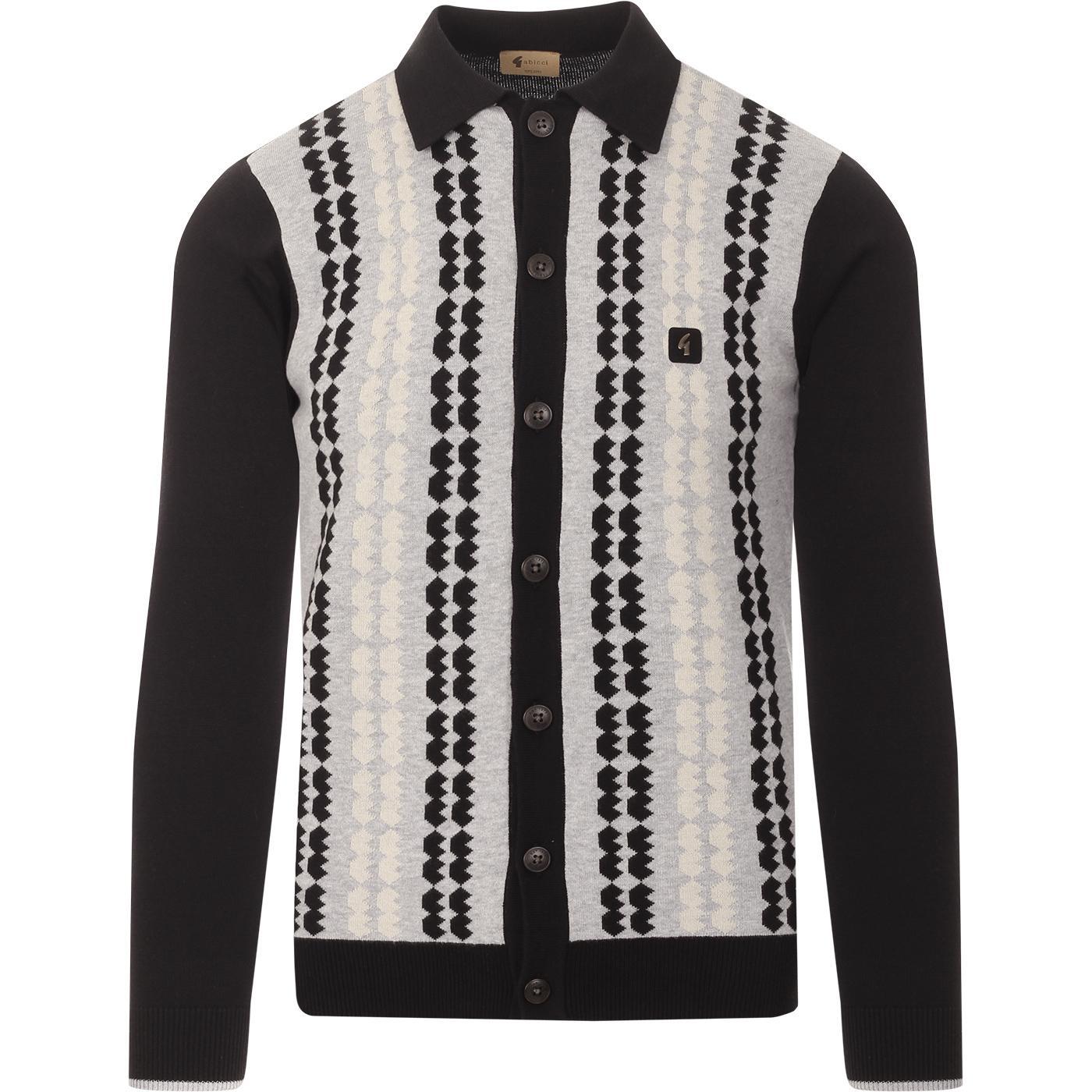 Nicholson GABICCI VINTAGE Mod Polo Cardigan -Black