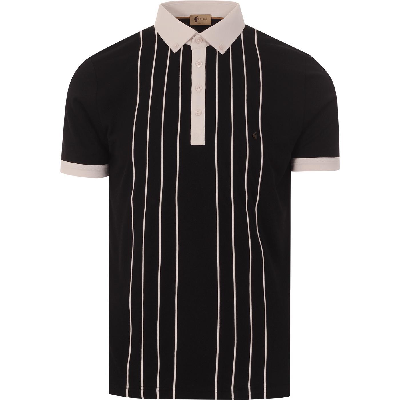 Piper GABICCI VINTAGE Mod Stripe Jersey Polo BLACK