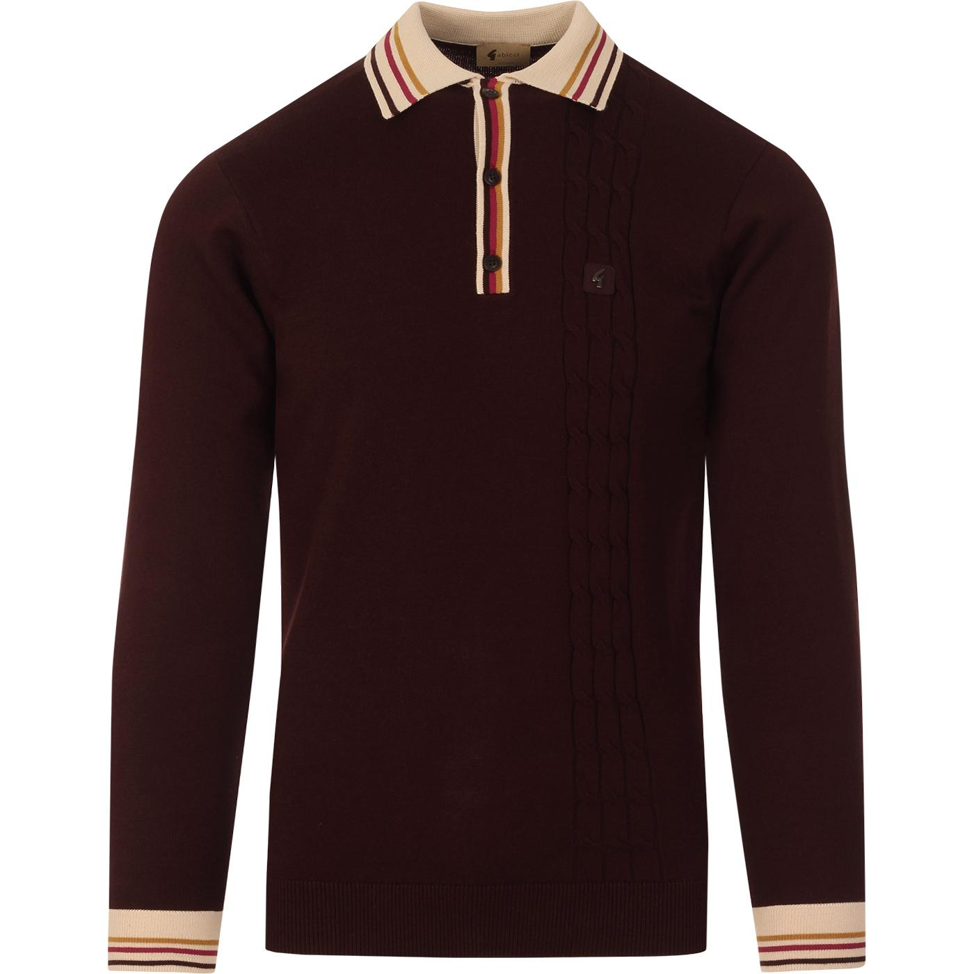 Turney GABICCI VINTAGE Tipped Cable Knit Mod Polo