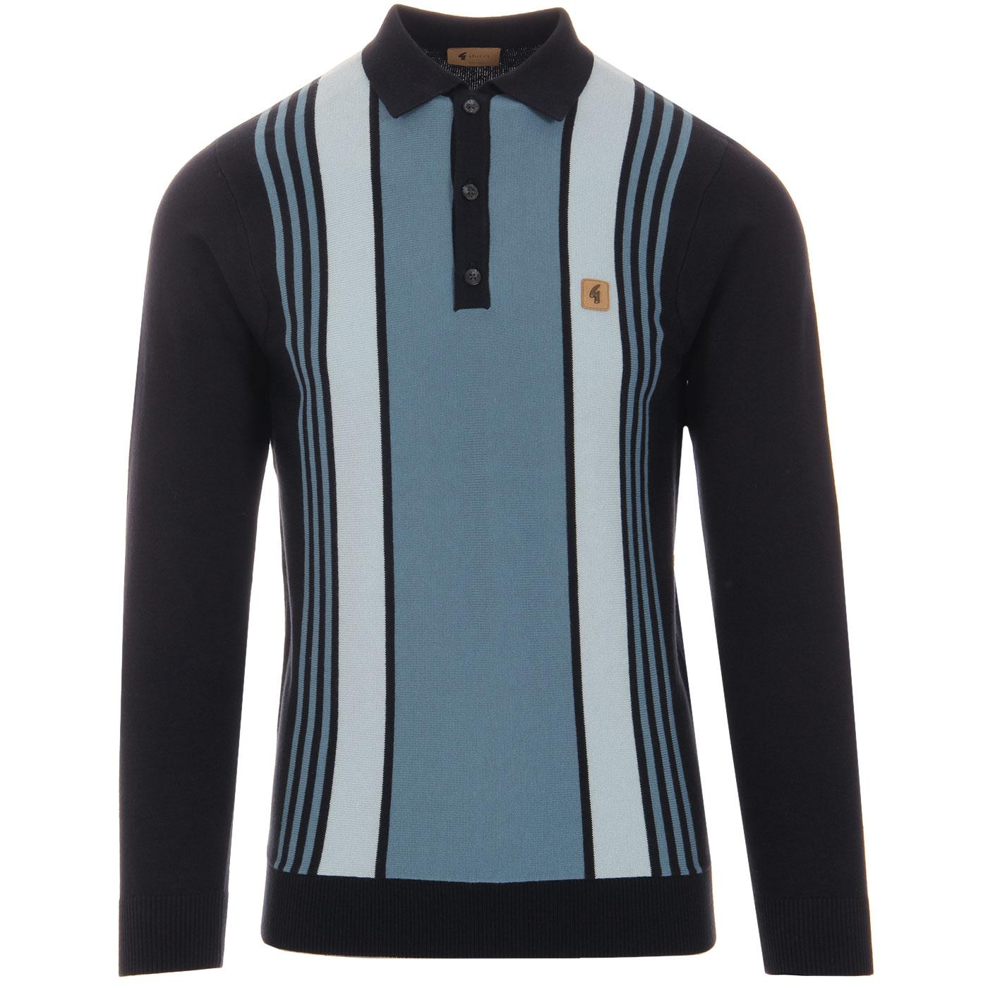 Searle GABICCI VINTAGE Mod Stripe Knit Polo (Navy)
