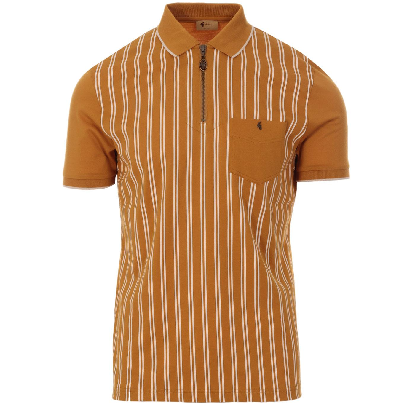 Solomon GABICCI VINTAGE Mod Stripe Zip Neck Polo H