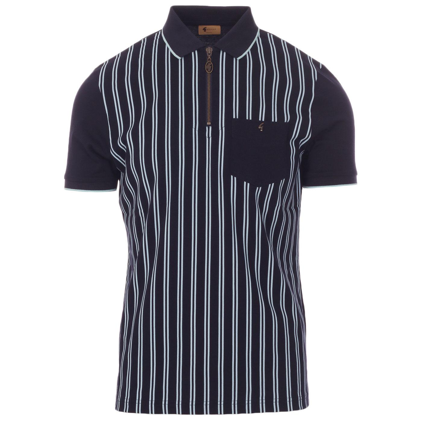 Solomon GABICCI VINTAGE Mod Stripe Zip Neck Polo N