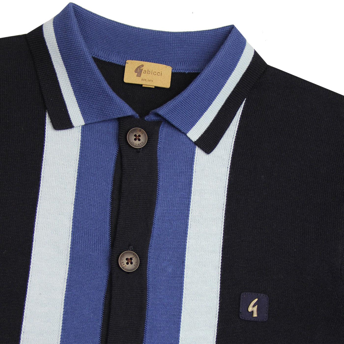 Gabicci Vintage Mens Fistral Blue Retro Polo Shirt
