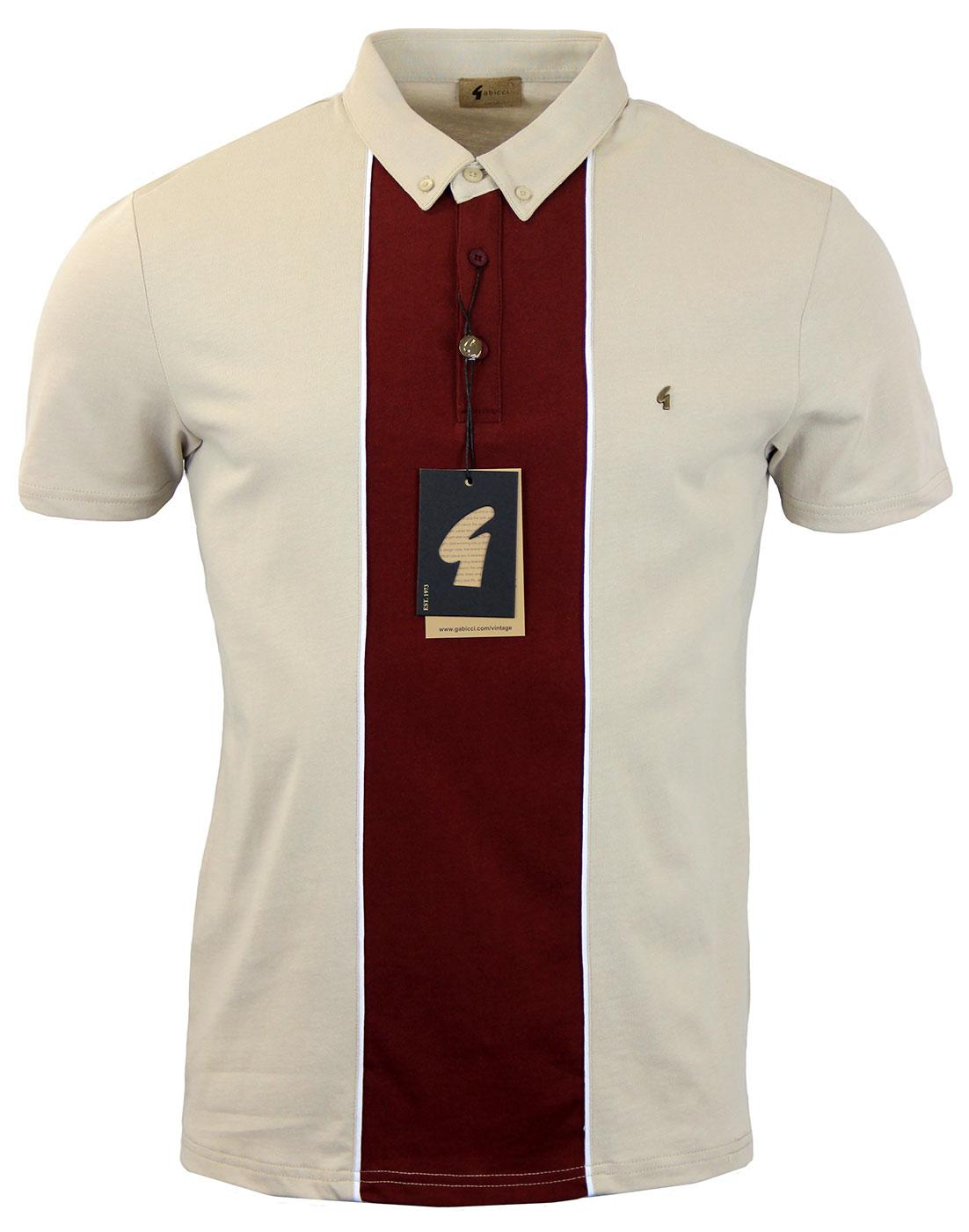 GABICCI VINTAGE Retro Mod Block Panel Polo Shirt