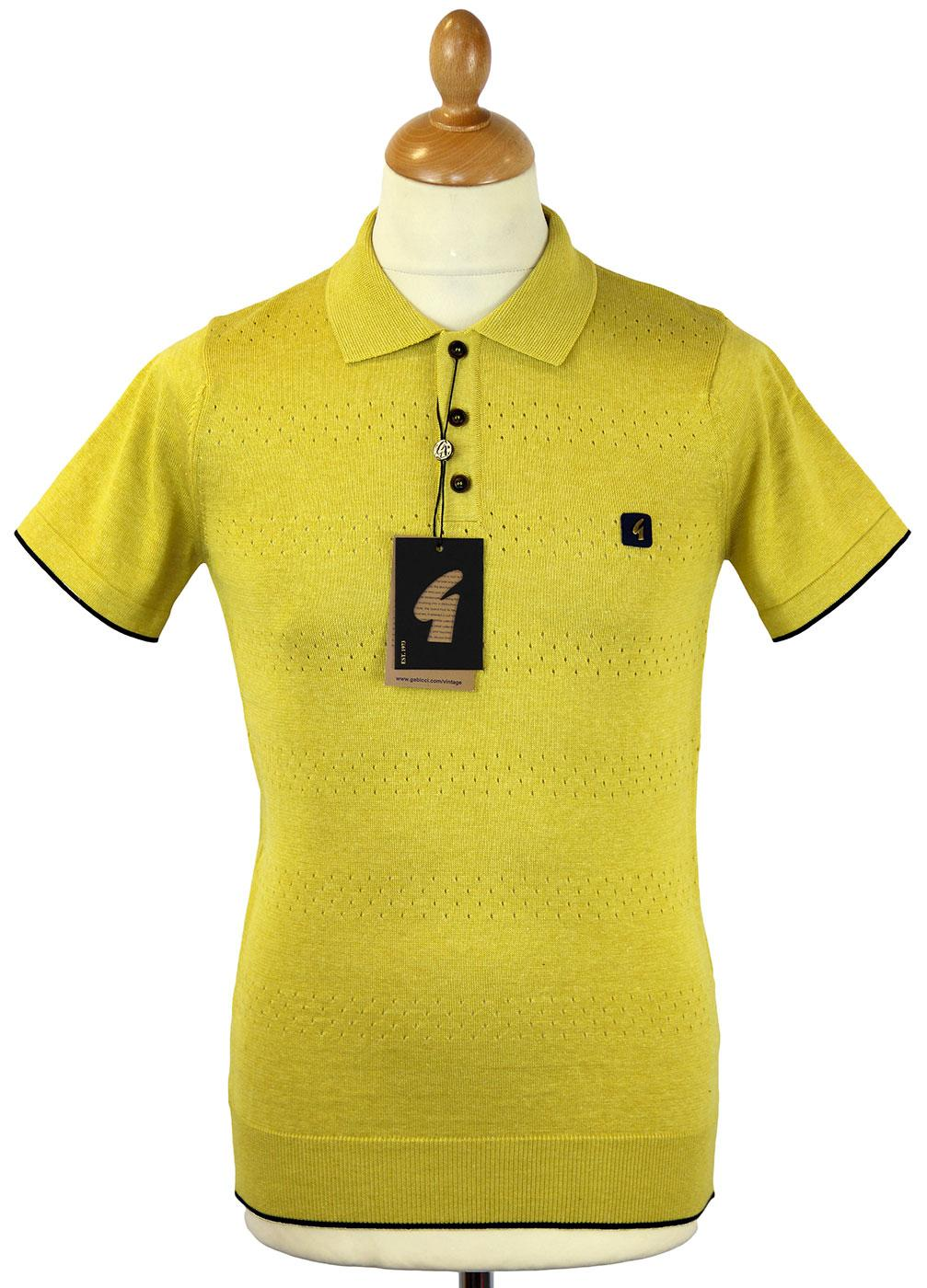 GABICCI VINTAGE Retro Mod Perforated Knit Polo C