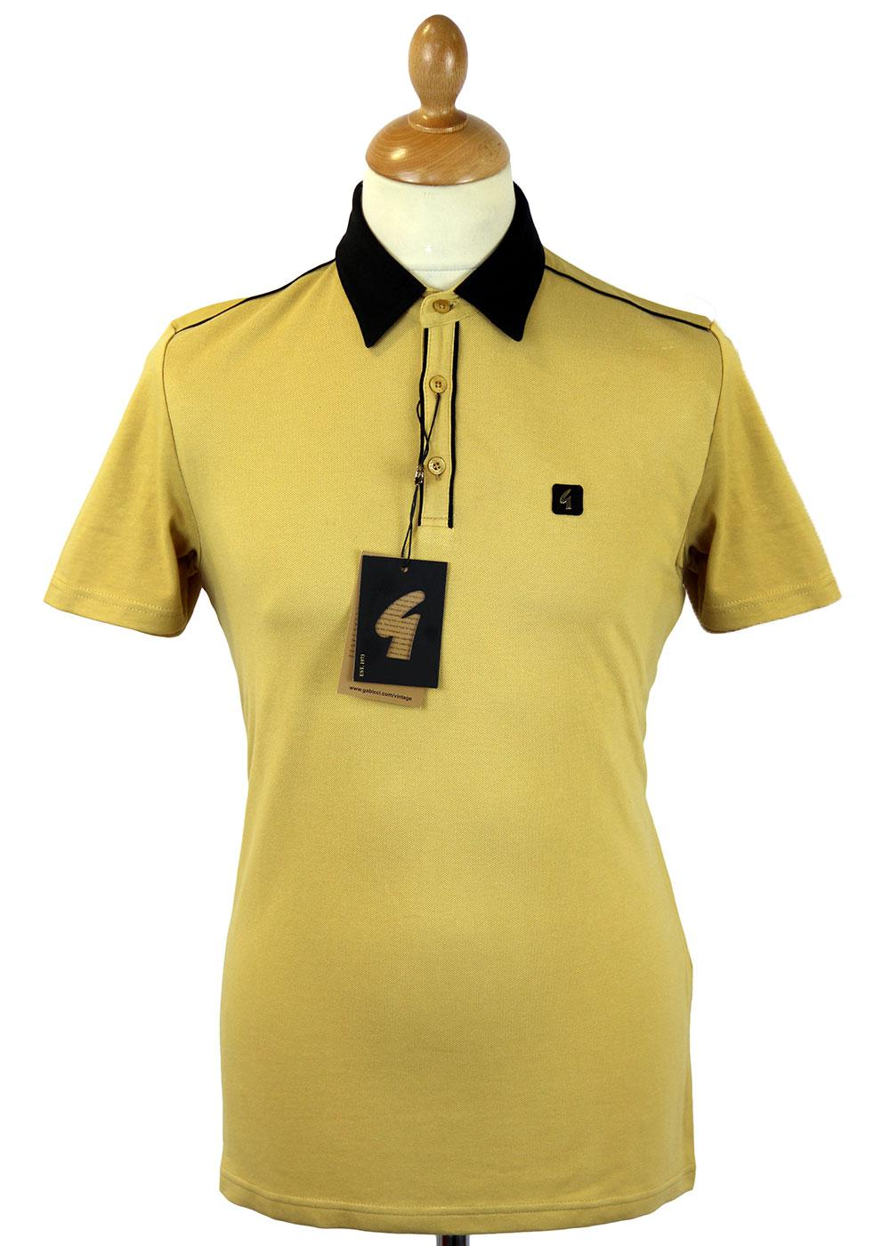 GABICCI VINTAGE Tipped Placket Retro Mod Polo (C)