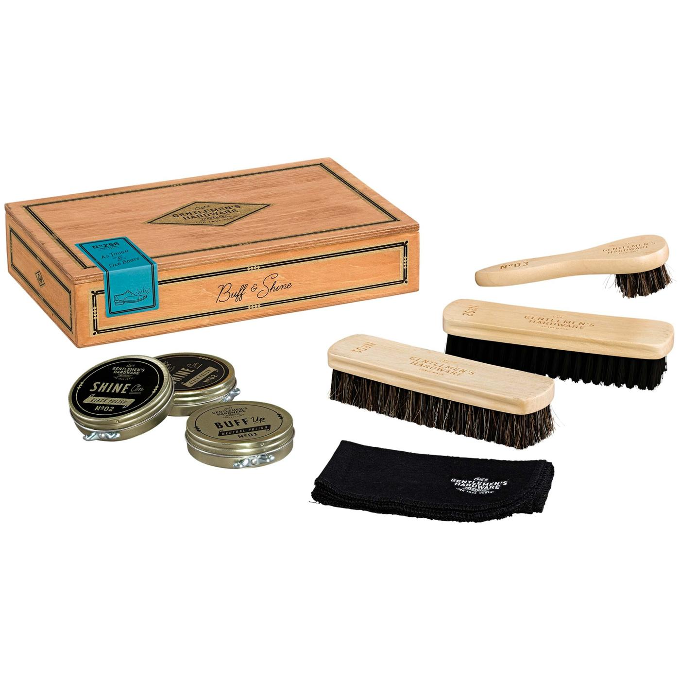 GENTLEMENS HARDWARE Retro Cigar Box Shoe Shine Kit