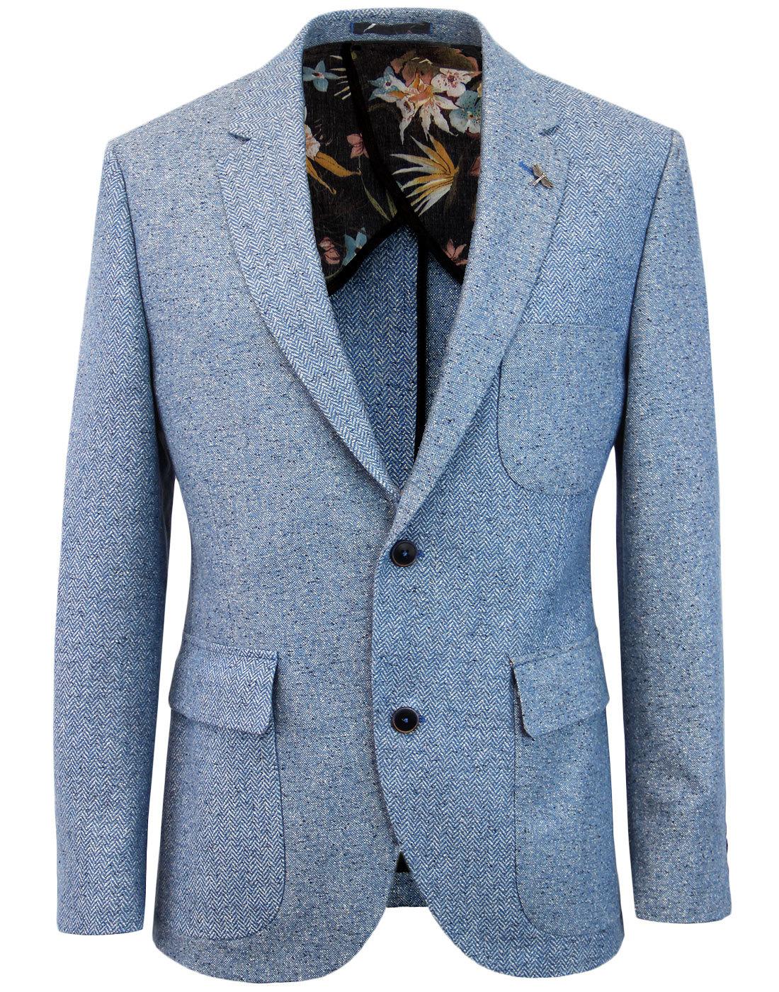 GIBSON LONDON Mod Herringbone Donegal Blazer BLUE
