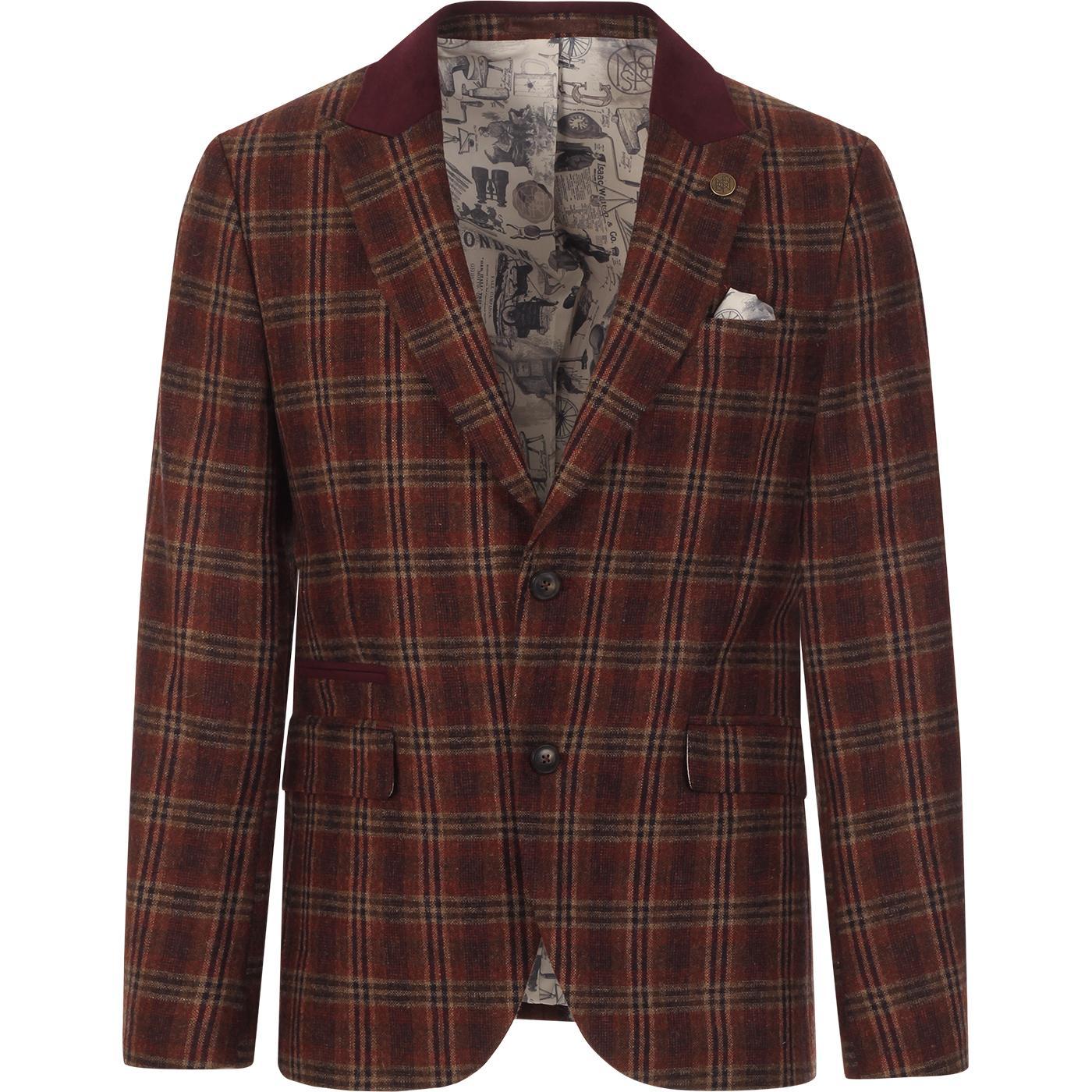 GIBSON LONDON Orange Check Teddy Boy Blazer Jacket