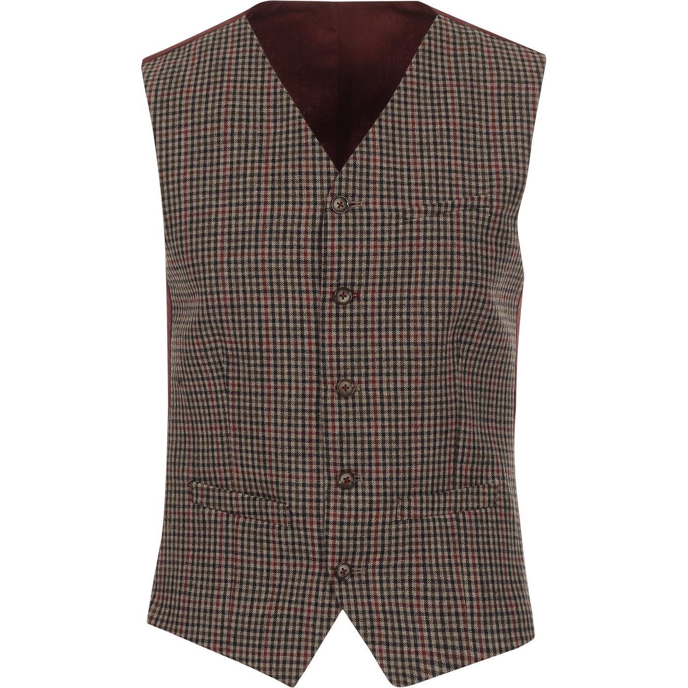 GIBSON LONDON Mod Tri-Colour Gingham Waistcoat