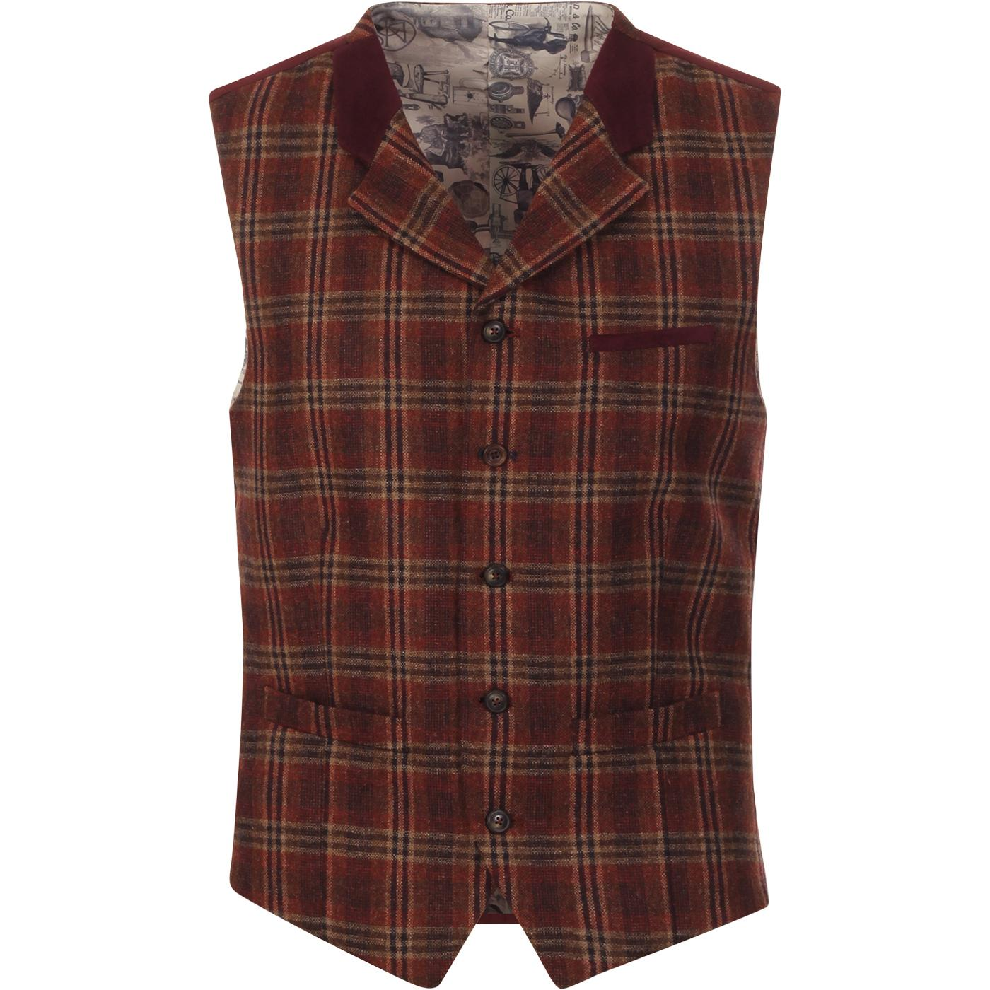 GIBSON LONDON Orange Check Teddy Boy Waistcoat