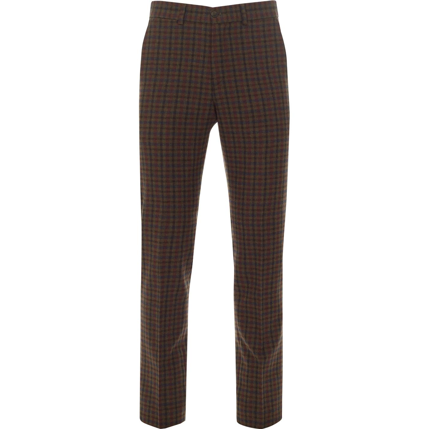 GIBSON LONDON 60s Mod Gingham Check Trousers (Tan)