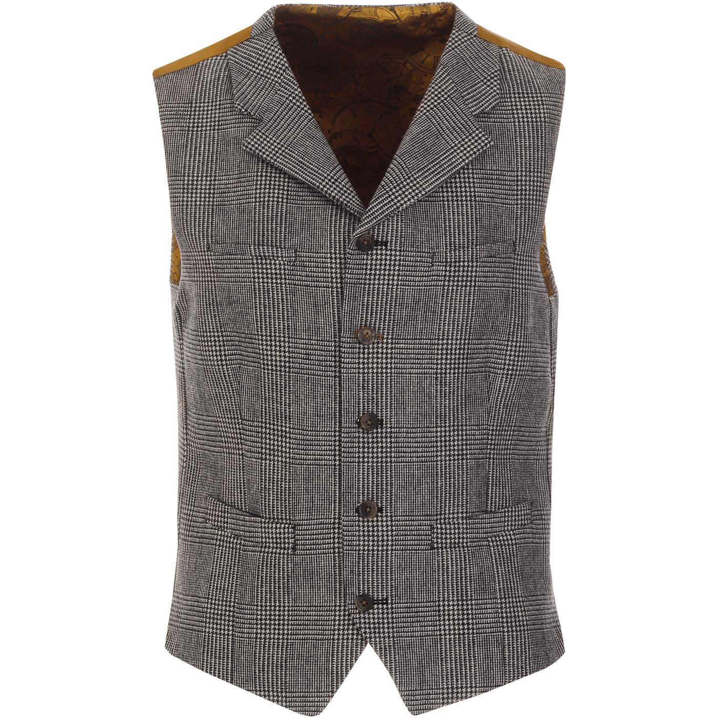GIBSON LONDON Retro Mod POW Check Lapel Waistcoat