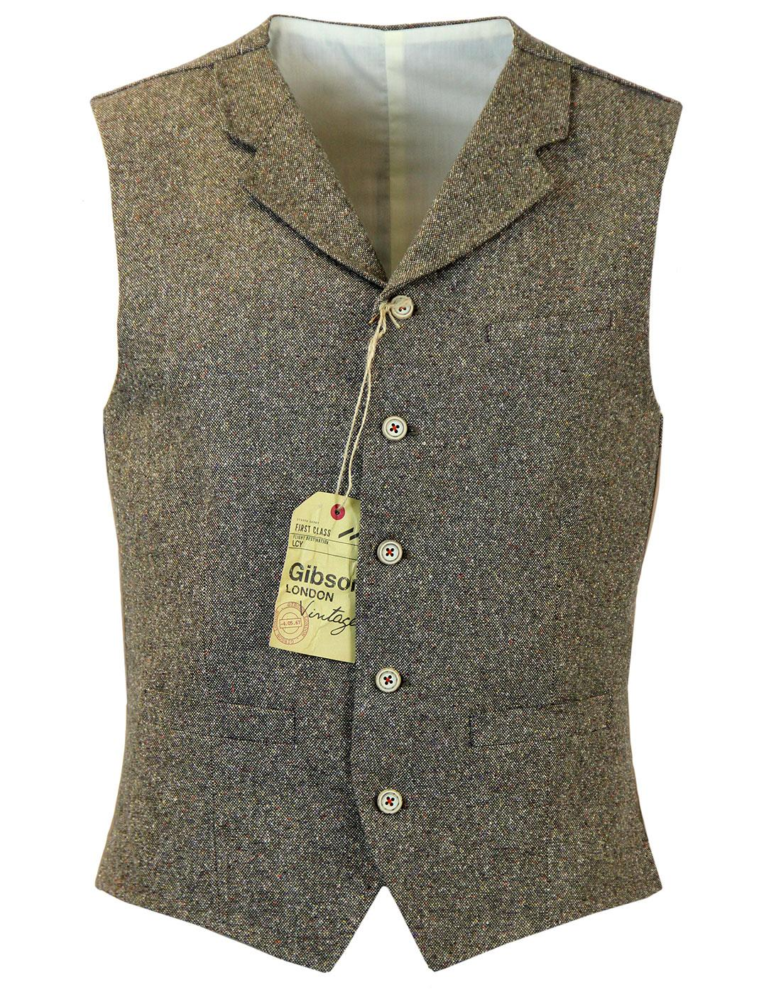 GIBSON LONDON High Fasten Donegal Waistcoat OLIVE