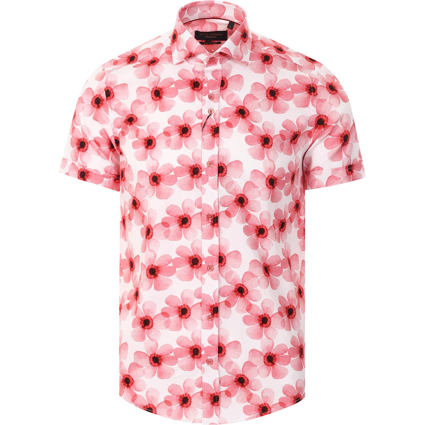 GUIDE LONDON 60s Mod SS Flower Print Shirt (Red)