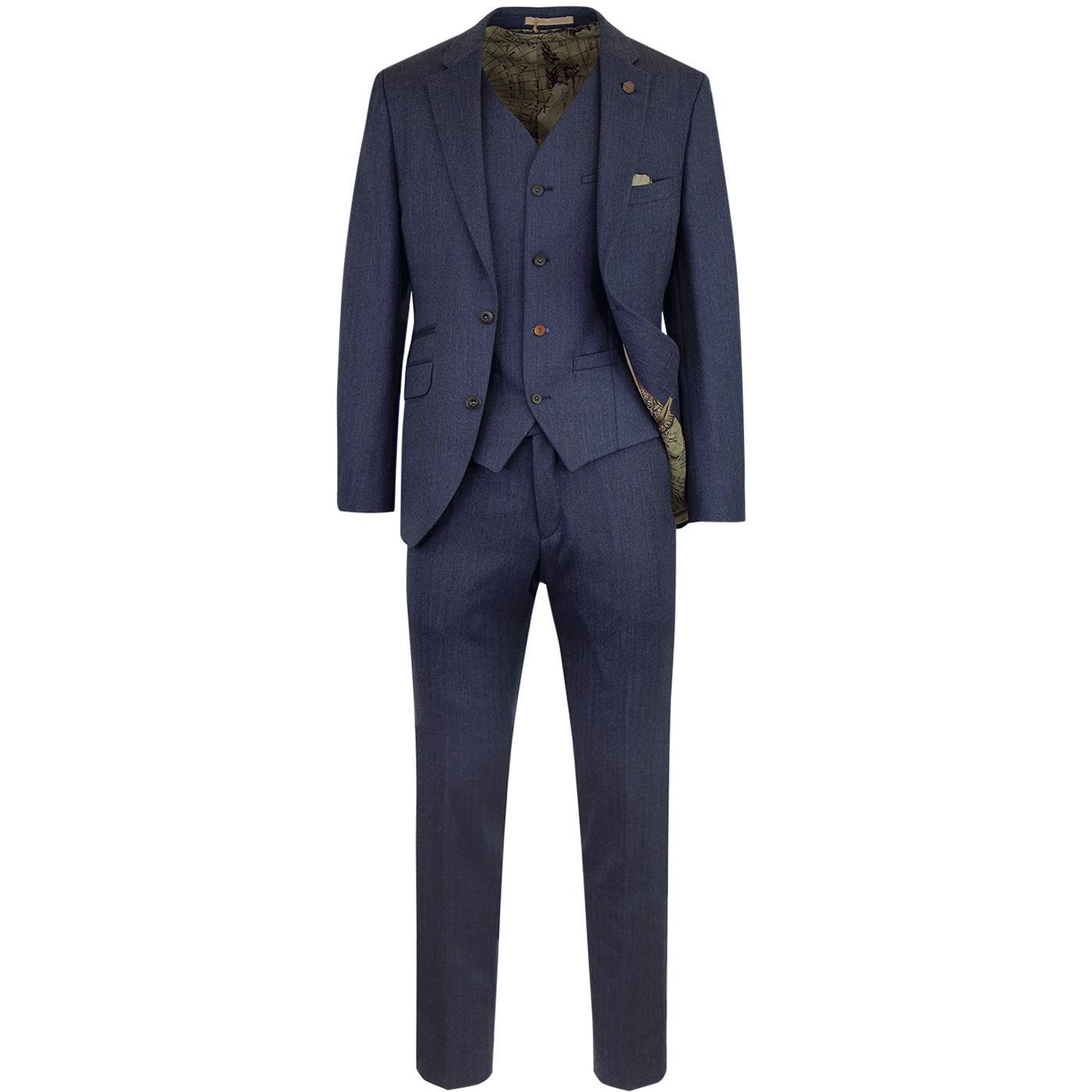 GIBSON LONDON Men's Mod Herringbone Suit in Blue